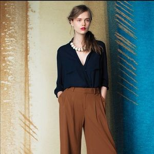 Anthropologie Maeve Eva dark blue wrap blouse